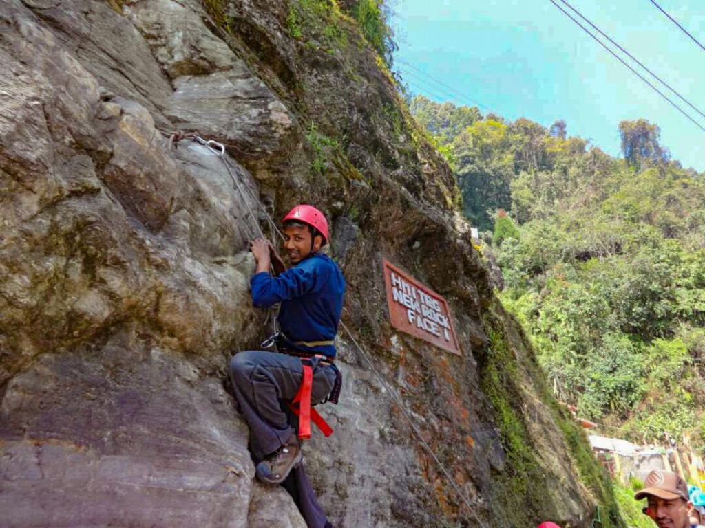 While climbing at one of the phases of Tenzing Rock