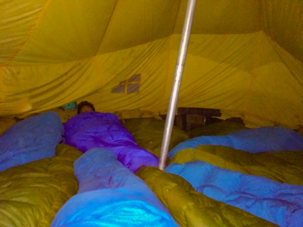 While sleeping inside the tents