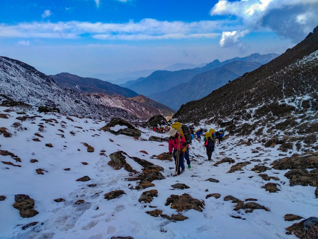 Climbing the final stretch to reach Dzongri Pass - Basic Mountaineering Course at HMI