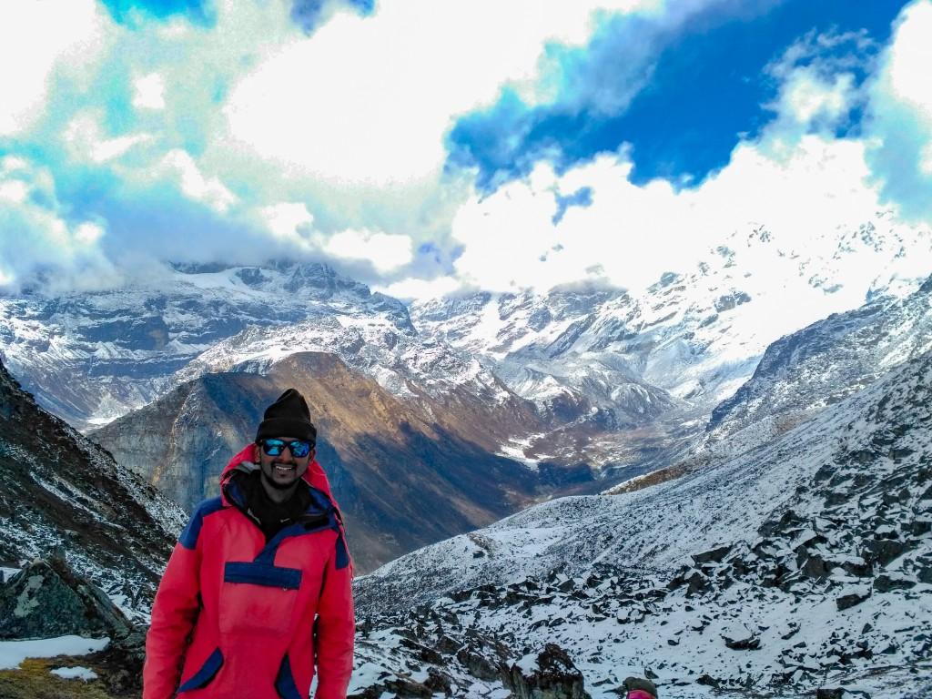 Me posing at Dzongri La (Pass) - Basic Mountaineering Course at HMI