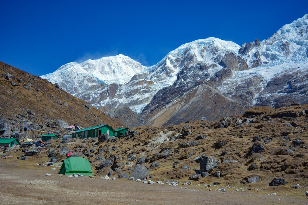 Kabru South and Kabru Dome visible from the Base Camp - Basic Mountaineering Course at HMI