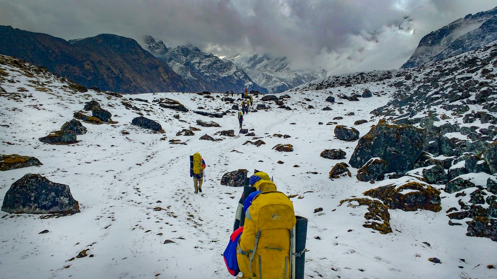 About to reach the pass - Basic Mountaineering Course at HMI