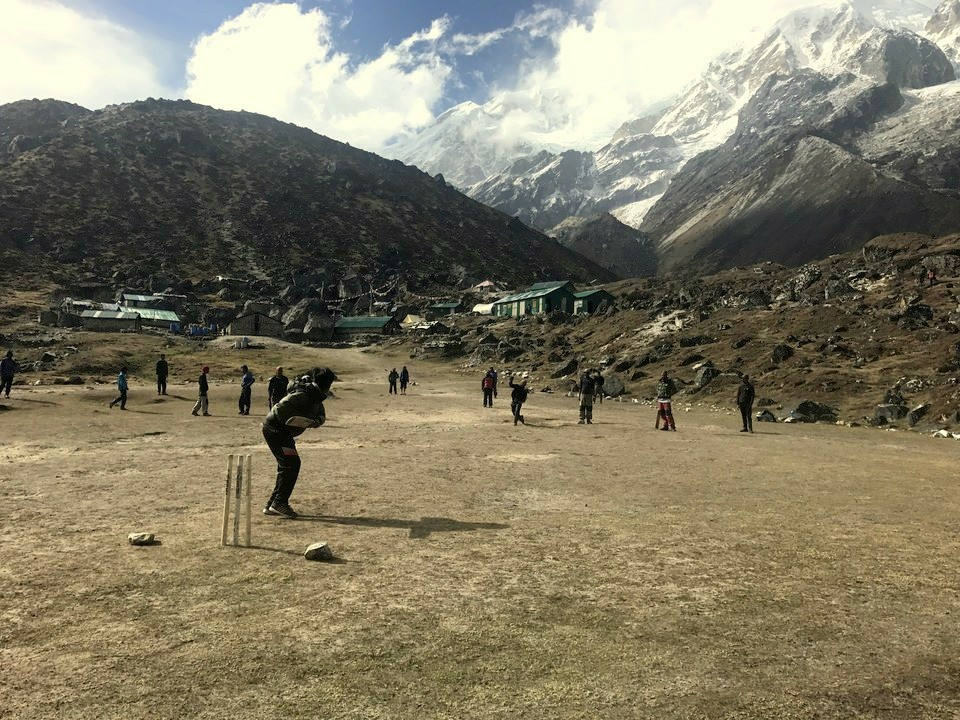 Playing cricket at the HMI Base Camp
