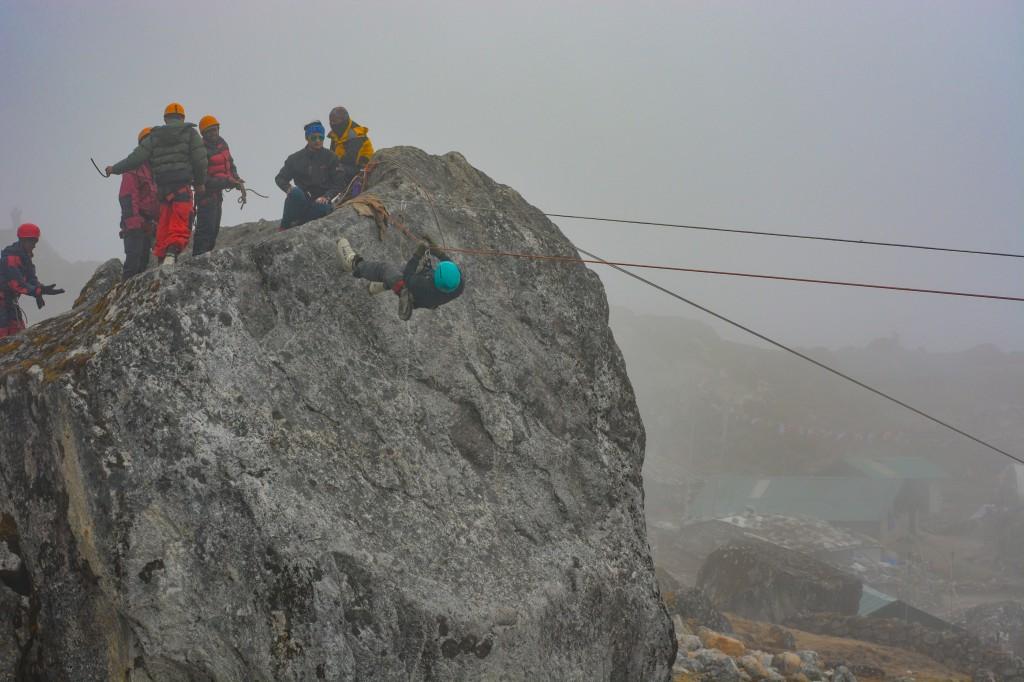 Tyroline Traversing at the Base Camp - Glacier Training at HMI