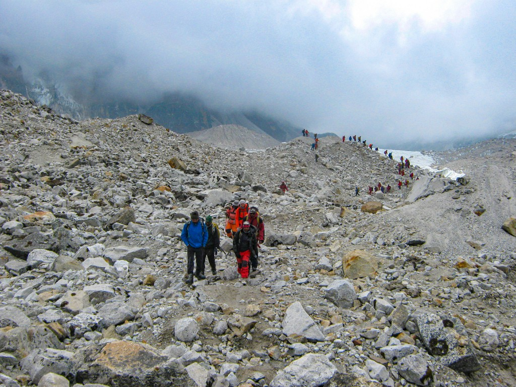 While trekking to the glacier