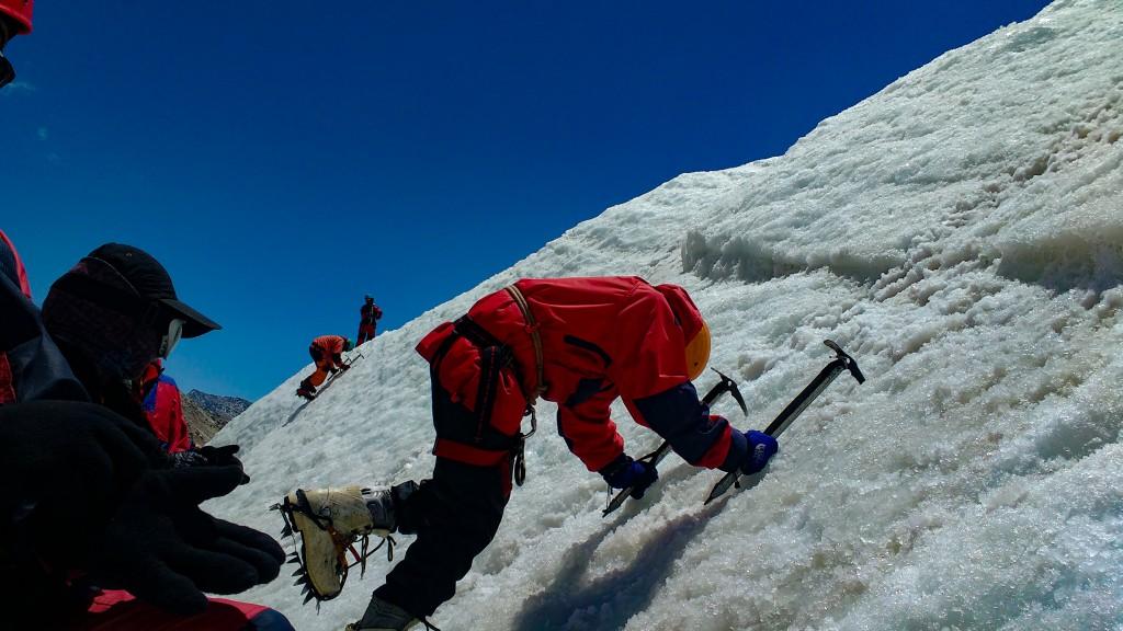 Attempting Pick Toe method on the glacier