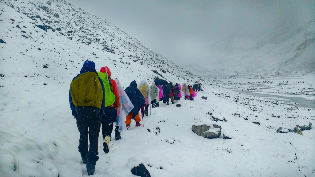 While trekking to glacier during snowfall
