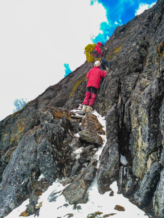 While rappelling down from the rock phase, BC Roy Peak climb