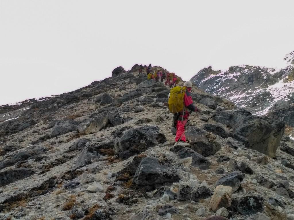 Trekking down from the BC Roy Peak - Glacier Training at HMI