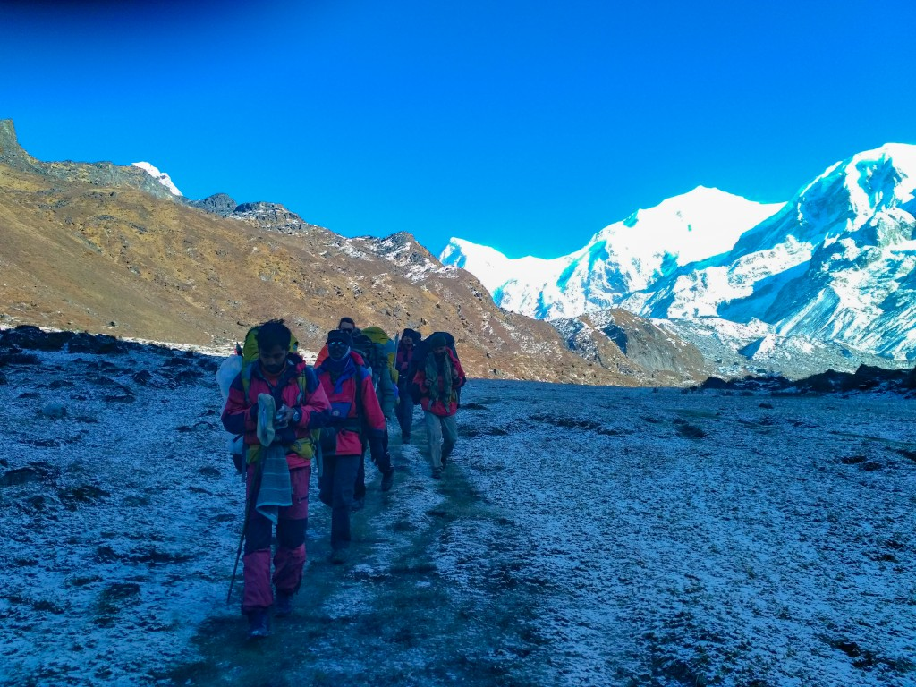 While trekking back to Yuksom from the HMI Base Camp