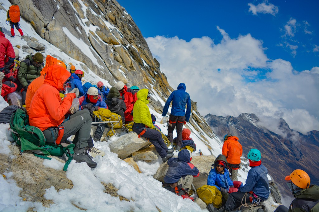 Resting while climbing the BC Roy Peak - Glacier Training at HMI