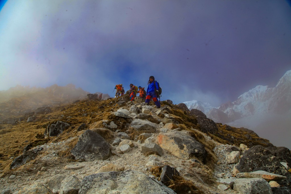 Reaching the base camp after glacier training