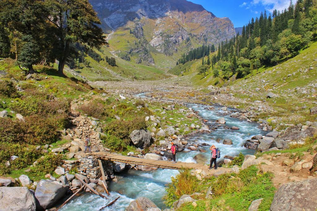 crossing a bridge over the rani river