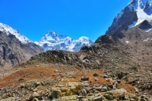 Indrasan and Deo Tibba visible from the trail - Hampta Pass Trek