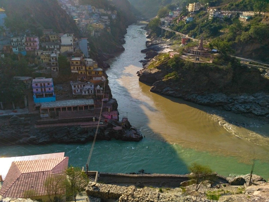 Confluence of Alaknanda and Bhagirathi rivers at Devprayag