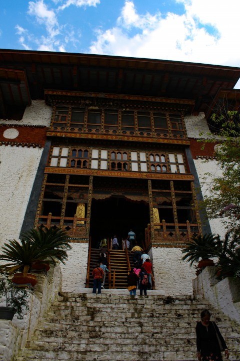 Entering a temple in Punakha Dzong - Trip to Bhutan
