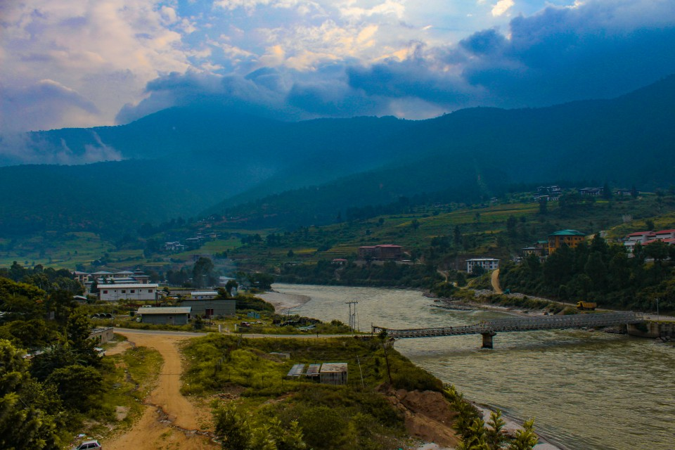 View of Punakha from our hotel's balcony - Trip to Bhutan