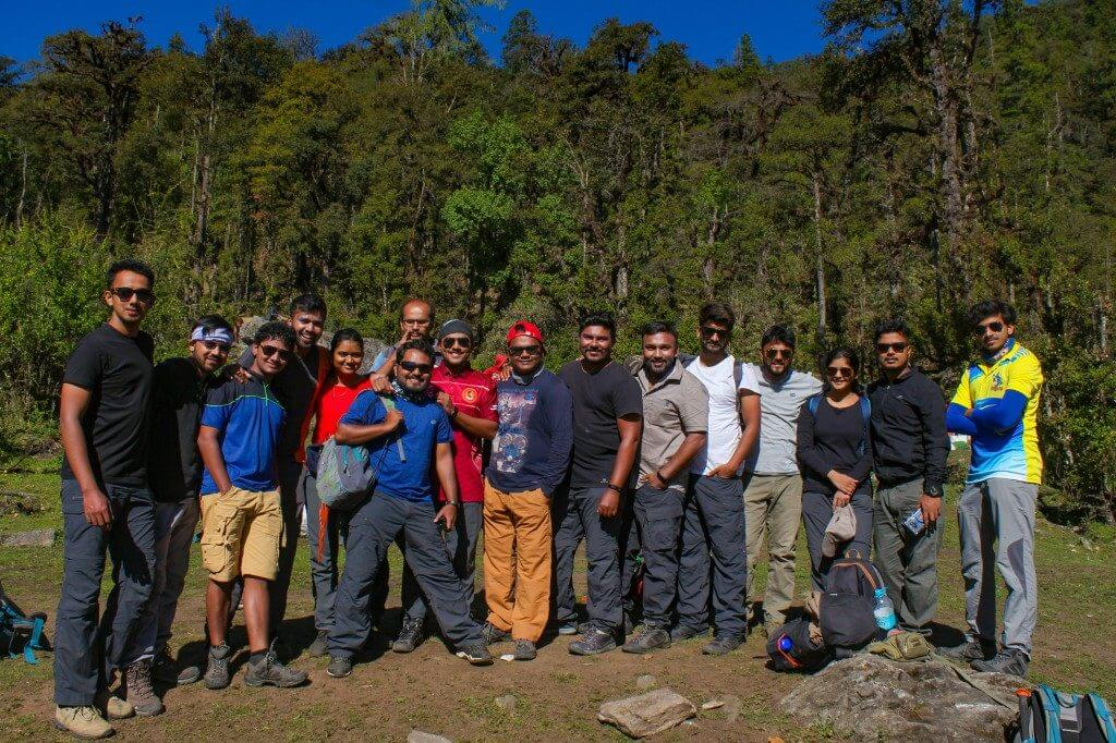 Group at Gulling campsite - Pangarchulla Peak Trek