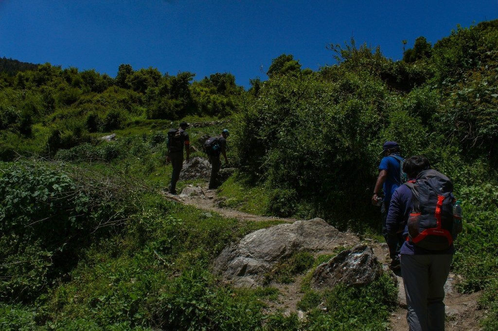 Approaching towards gulling top - Pangarchulla Peak trek