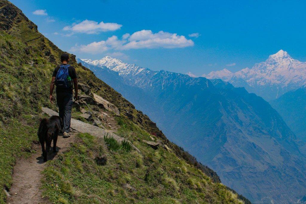 Trekking through the narrow trail - Pangarchulla Peak
