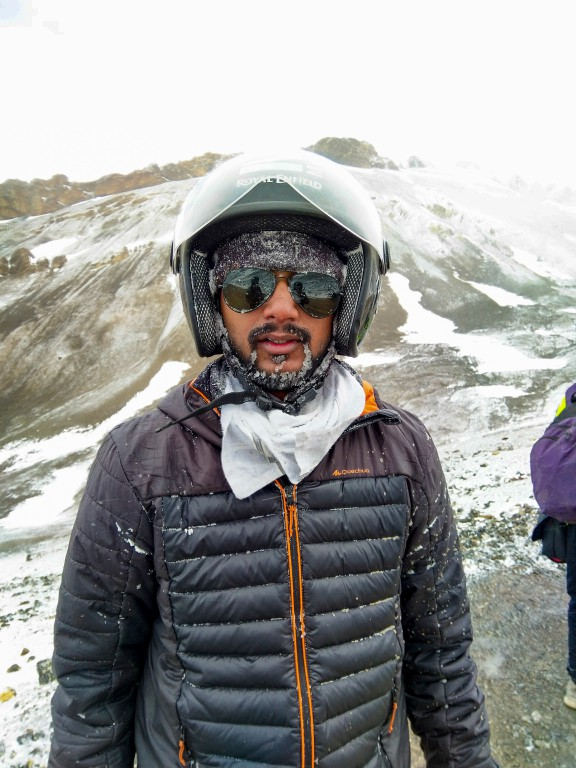 After riding in a snowstorm - Manali to Leh Ladakh