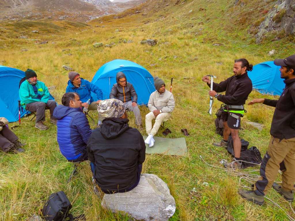 Trek Leader giving sessions on mountaineering techniques - Bali Pass Trek