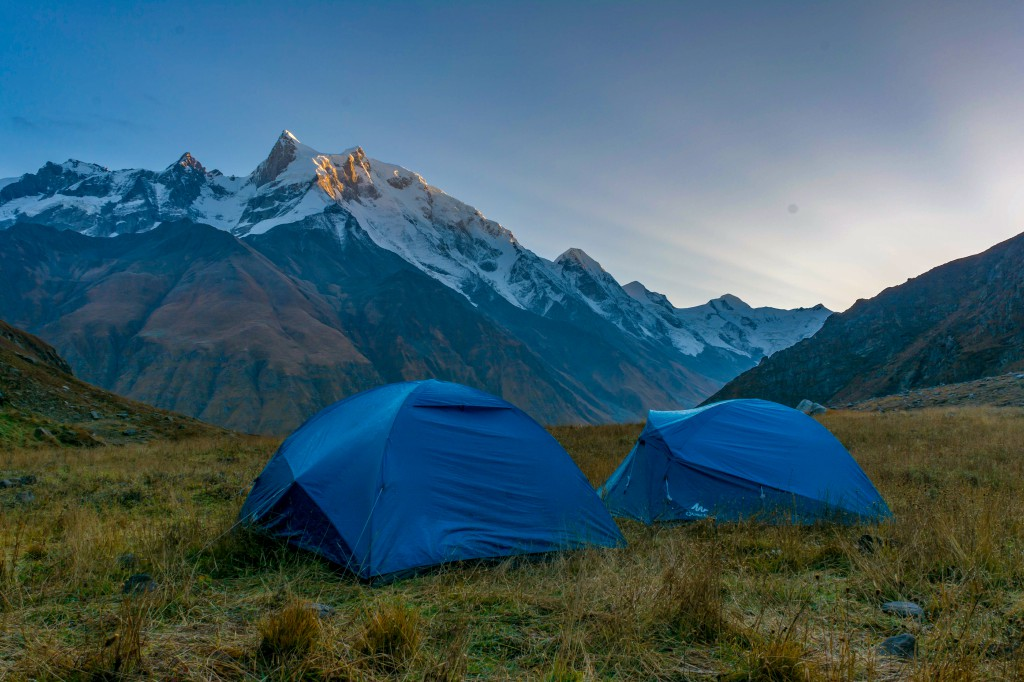 Camps at Odari. Swargarohini Massif in the backdrop - Bali Pass Trek