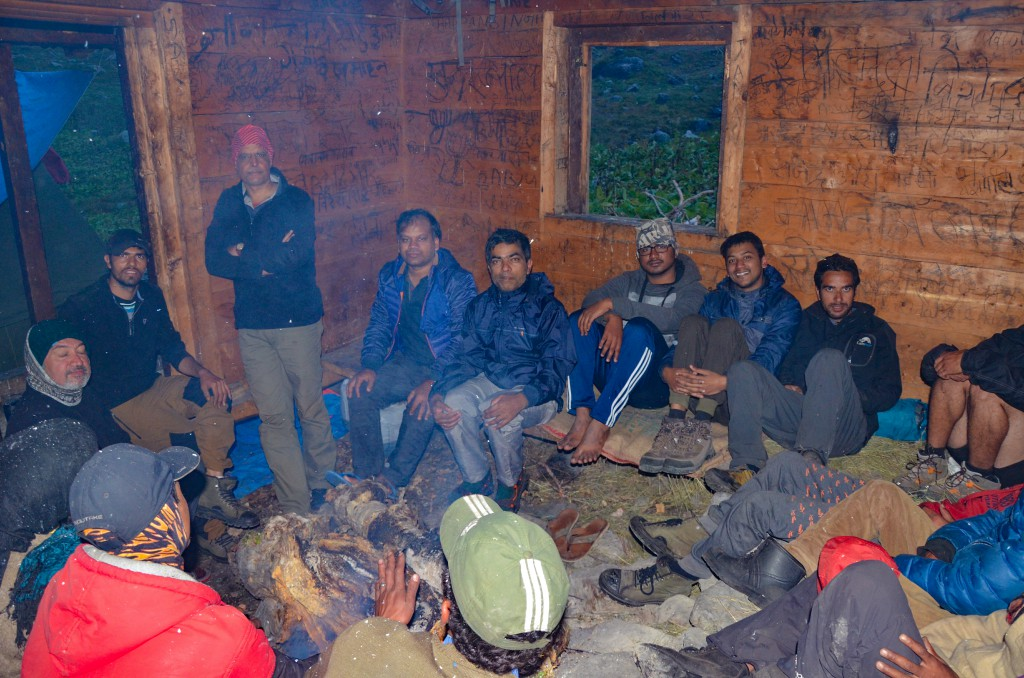 Whole group inside the hut - Bali Pass Trek