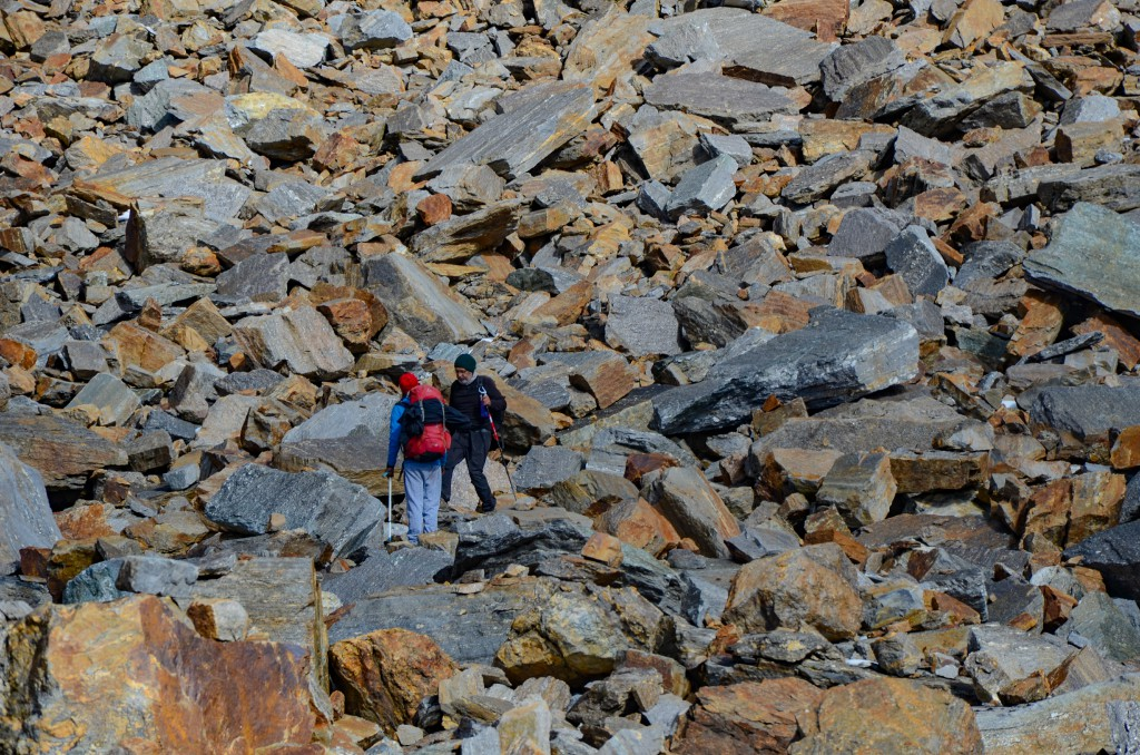 Crossing a boulders section after crossing the pass - Bali Pass Trek