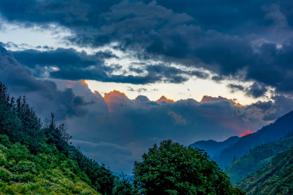 Beautiful evening view from Seema Village - Bali Pass Trek