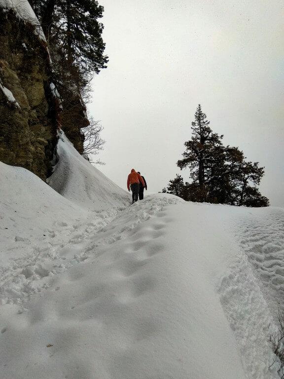 Hiking on the snow-blocked road towards the Jalori Pass - Jibhi Trip