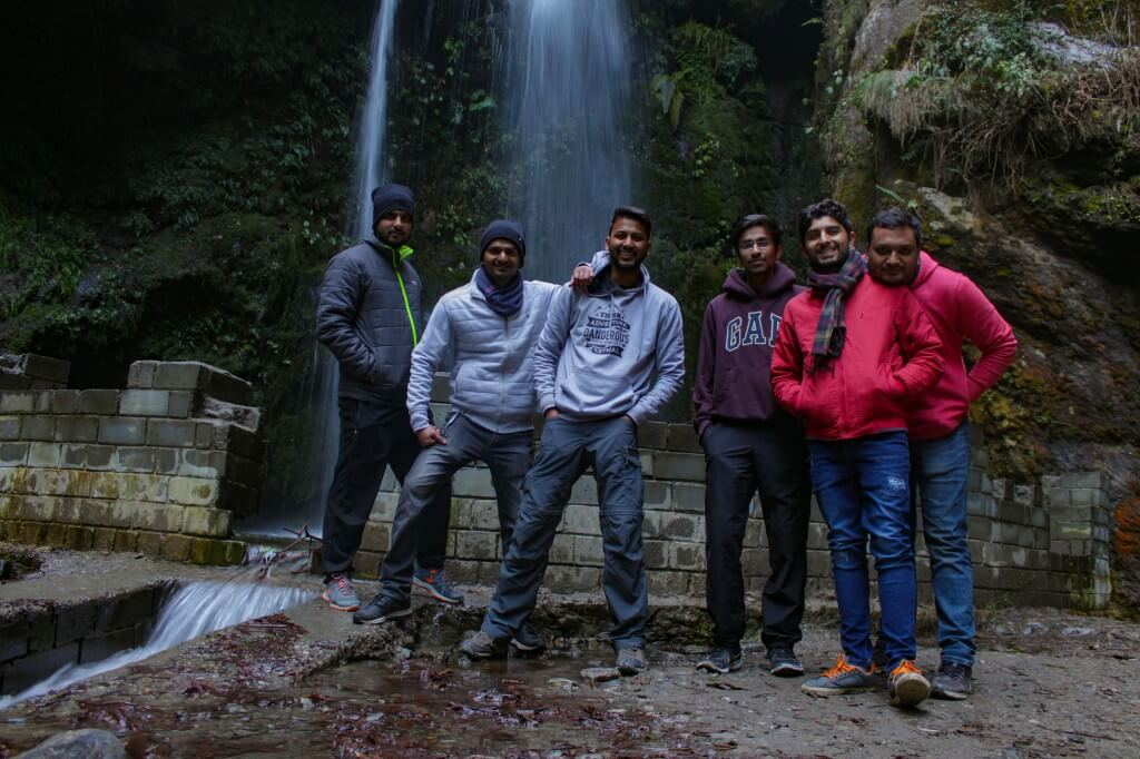 Complete group at Jibhi Waterfall, Left to Right -Shivendra, Ashwini, Me, Atishay, Sangram, Pranjal