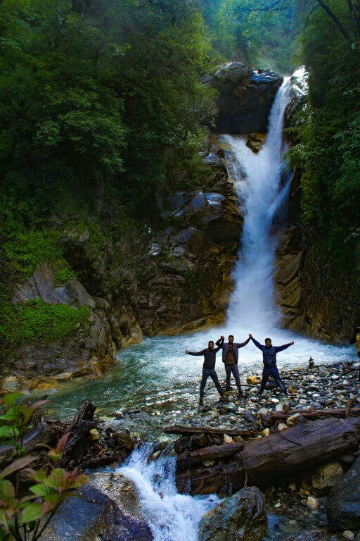 Me, Ankush and Nishant posing at the waterfall