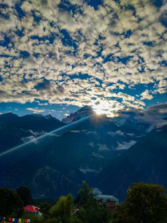 View of Kinnaur Kailash Mountains during Sunrise, captured from Kalpa