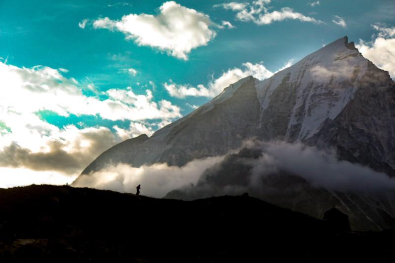 Bhagirathi massif during sunrise